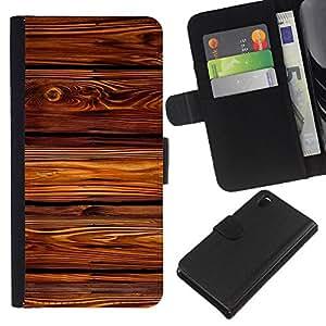 KLONGSHOP // Tirón de la caja Cartera de cuero con ranuras para tarjetas - Líneas patrón de textura House - Sony Xperia Z3 D6603 //