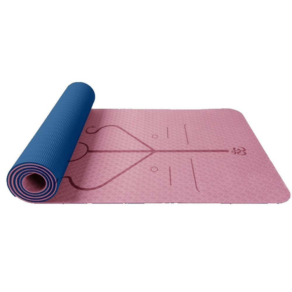 XPORTOR Yoga Matte Tragbare Yoga Matte Double Layer TPE-Material Mit Zwei Farben Zusammengesetzte Körper Line Design Doppelseitig Verfügbar Leichte Rutschfeste Yogamatte