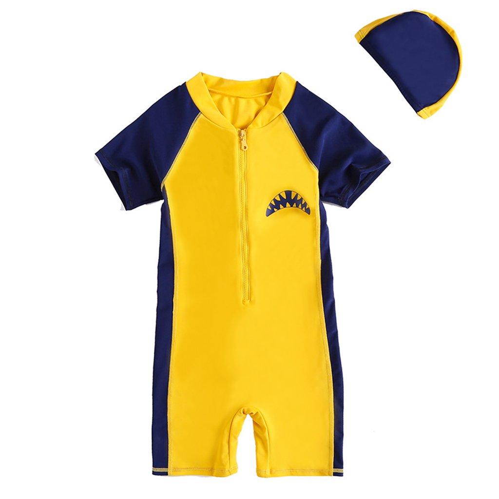 Zilee Bambini Maniche Corto Costume da Bagno - Ragazzi Ragazze Nuotare Abbigliamento e Nuoto Berretto Cartone Animato Squalo Due Pezzo