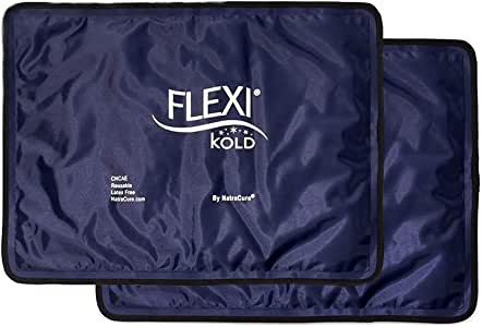"FlexiKold Gel Ice Pack (Standard Large: 10.5"" x 14.5"") - Two (2) Reusable Cold Therapy Packs (for Pain and Injuries to Knee, Shoulder, Foot, Back, Ankle, Neck, Hip, Wrist) - 6300-COLD"