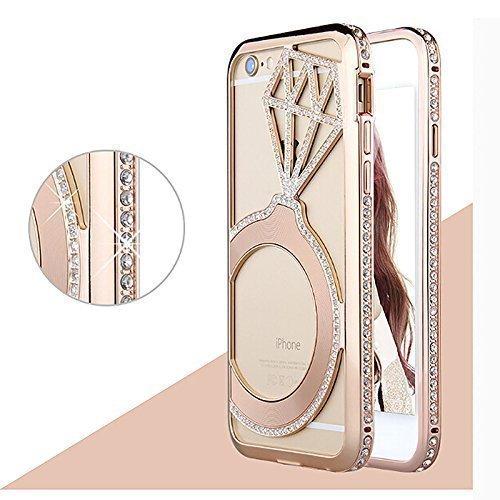 Cristallina del Caso di lusso di Bling Rhinestone del diamante del metallo per Apple iPhone 6 PLUS/6s-Rosa-iHuci Oro