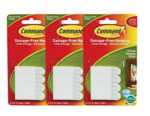 Command Picture Hanging Strips, Small, White, 8-Strips Each, 3 pack