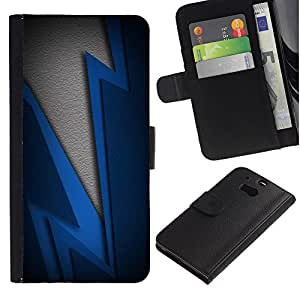 KingStore / Leather Etui en cuir / HTC One M8 / Blue Lightning