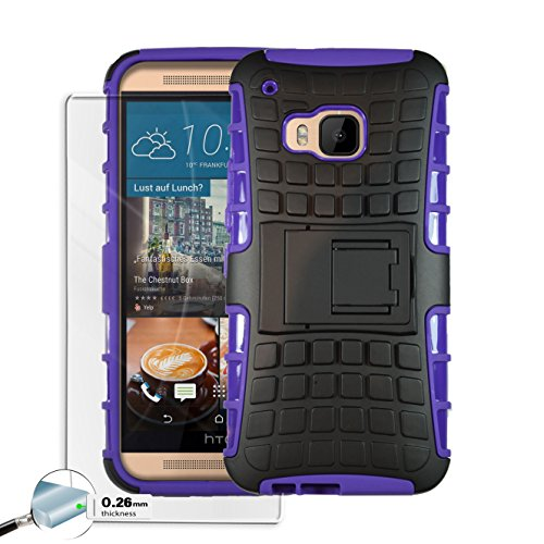 Htc One M9 Case Rugged Dual Layer [Tempered Glass 0.26 mm Screen Protector] Heavy Duty Kickstand Cover for Htc One M9 2015 Edition - (Purple)