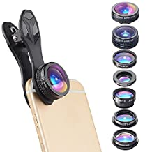 Polar Eye 7 in 1 Clip On Cell Phone Camera Lens Kit | for iPhone 7 6/6S 6S Plus, Samsung Galaxy S7 S6 & Most Tablets | Telephoto, Fish Eye, Kaleidoscope, Wide Angle, X-Wide Angle, CPL, Macro Lens