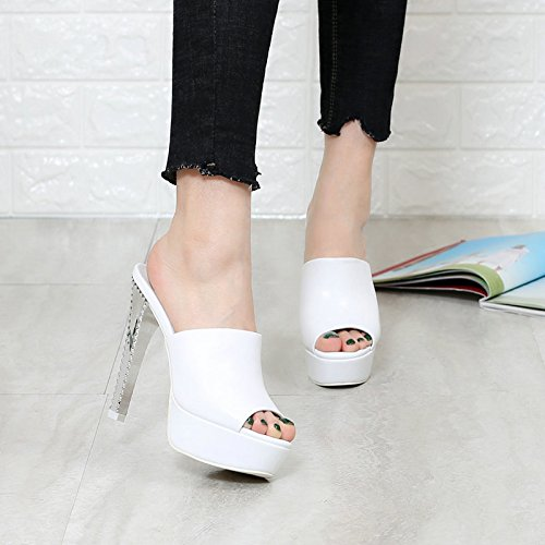 Comfortable Cowhide Table Cold Heel Face Soft Fashion Word 38 Sandals KPHY white Slippers Waterproof Fine Personalized High Leather Mop One Shoes Heeled A6Z8nWwq