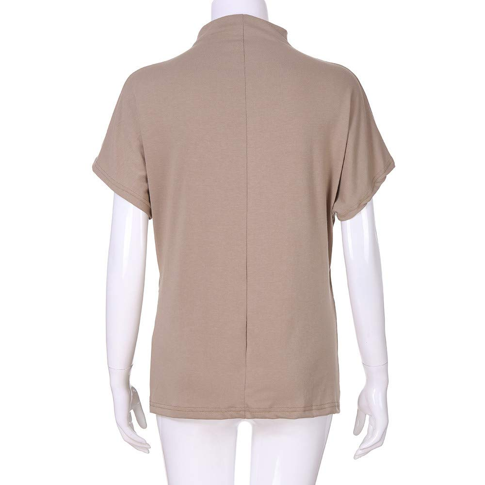 TWGONE Cap Sleeve Tops For Women Plus Size Turtleneck Solid Casual Blouse Top T Shirt (XXXXX-Large,Khaki) by TWGONE (Image #5)
