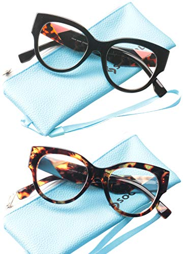 c24a494431ca SOOLALA Ladies Modern Fashion Prescription Eyeglass Frame Cat Eye Reading  Glass, BkLeo, 2.0