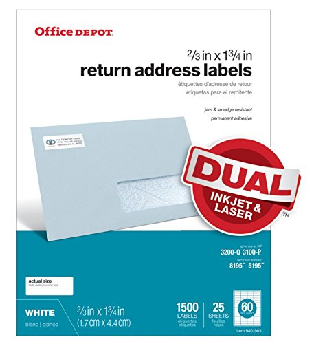 Office Depot White Inkjet/Laser Return Address Labels, 2/3in. x 1 3/4in, Pack of 1,500, 505-O004-0015