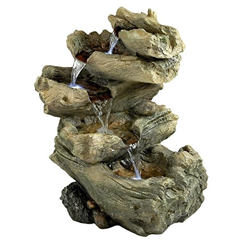 Water Fountain with LED Light - Roaring River Garden Decor Fountain - Outdoor Water Feature by Design Toscano