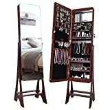 HERRON LED Jewelry Cabinet, Lockable Free Standing Jewelry Armoire with Full Length Mirror, Large Capacity Jewelry Organizer for Women to Store Jewelry