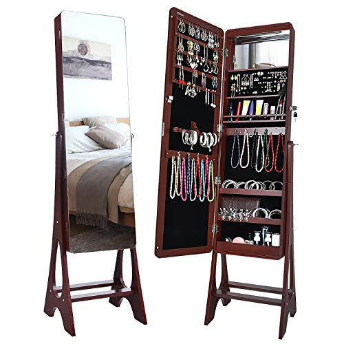 Herron 14 LEDs Jewelry Cabinet, Lockable Free Standing Jewelry Armoire with Full Length Mirror, Large Capacity Jewelry Organizer for Women to Store Jewelry,Brown (Mirror Case Jewelry Stand)