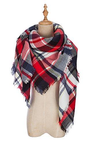 (VIISHOW Fever Stylish Warm Blanket Scarf Gorgeous Wrap Shawl,E White Red,One Size)