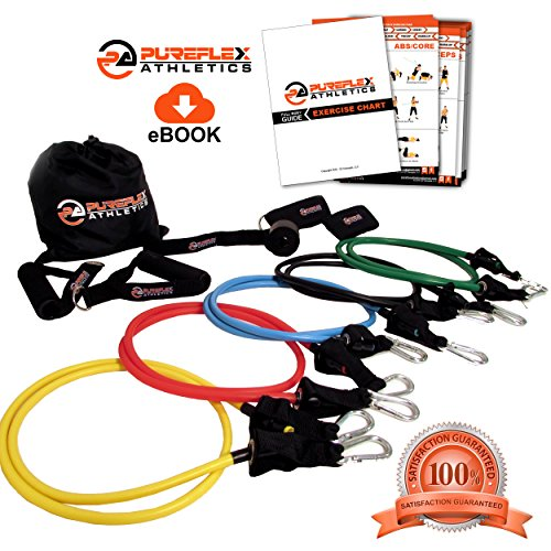 Pureflex Exercise Bands, 12pc Set Includes 5 Resistance Bands, 2 Padded Handles, 2 Padded Ankle Straps, 1 Door Attachment, 1 Fitness Band Carry Bag, 1 Exercise Guide eBook