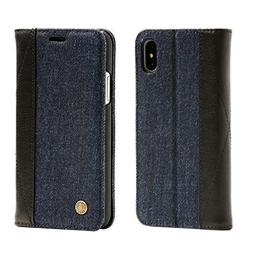ダウンタウン逃げるアレンジiPhone XS ケース 手帳型 iPhone X ケース 手帳型 デニム Qi充電 マグネット スタント機能 カード収納 アイフォンXS/X 用 カバー