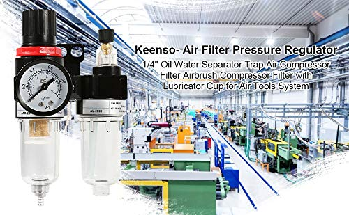 Regulador de presi/ón del filtro de aire 1//4Trampa del separador de agua y aceite Filtro del compresor de aire Filtro del compresor del aer/ógrafo con taza de lubricante
