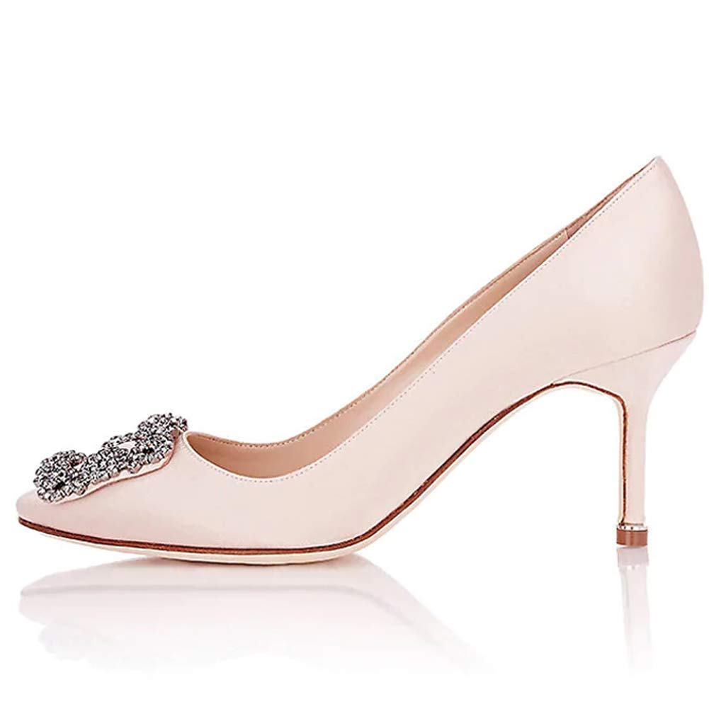 Light Pink Kmeioo Pumps for Women, Women's Satin Diamonds Pumps Kitten Heels Rhinestones Pumps Pointed Toe Low Heels Evening Party Wedding shoes
