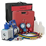 ARKSEN Vacuum Pump (1/2hp) A/C R134a Diagnostic Manifold Gauge Refrigerant w/ Carrying Tote Kit
