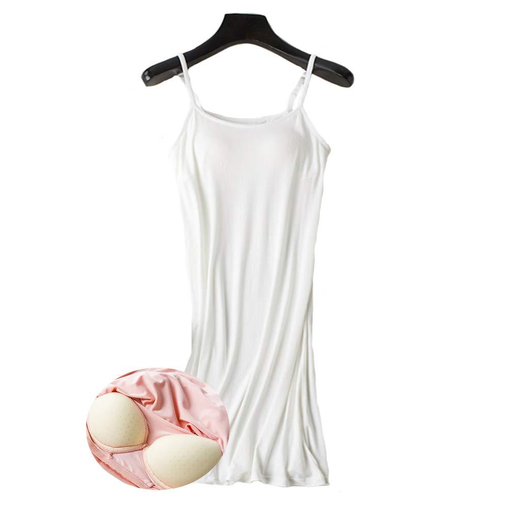 Womens Modal Built in Bra Full Slips Basic Adjustable Spaghetti Strap Cami