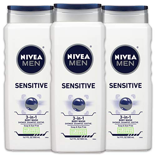 NIVEA Men Sensitive 3-in-1 Body Wash - Shower, Shampoo and Refresh, Soap and Dye-Free For Sensitive Skin - 16.9 fl. oz. (Pack of 3)
