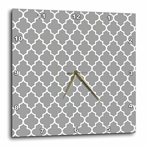 3D Rose dpp_120259_1 3dRose Dark Gray Quatrefoil Pattern-Grey Moroccan Tiles-Modern Stylish Geometric Clover Lattice-Wall Clock 10-inch (Gray Quatrefoil Clover)