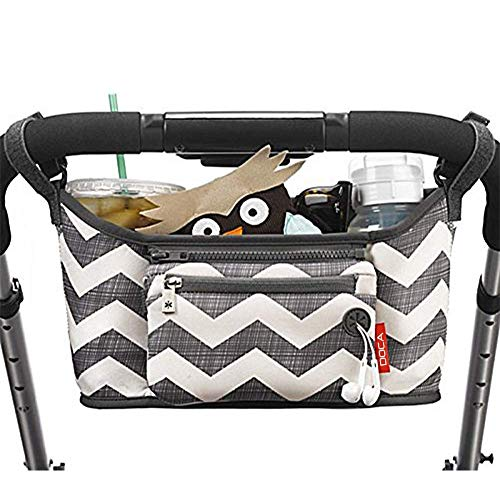 Universal Stroller Organizer Bag,DOCA Pram Buggy Organiser Storage Bag with Cup Holders,Headphone Port & Removable Compartments - Large Space for Buggies Pushchair【Stripe Grey】