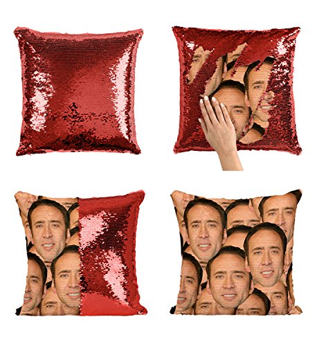 Nicolas Cage Mashup Faces Meme_P004 Sequin pillow, Sequin Pillowcase, Two color pillow, Fift for her, Gift for him, Magic Pillow, Mermaid Pillow, Scales Pillow Cover by LumaPillows