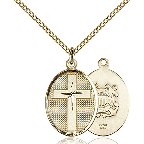 Gold Filled Cross / Coast Guard Pendant 7/8 x 1/2 inches with Gold Filled Lite Curb Chain by Bonyak Jewelry Saint Medal Collection