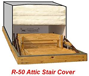 22x54 Attic Pull Down Stair Ladder Cover, R-50 Insulation