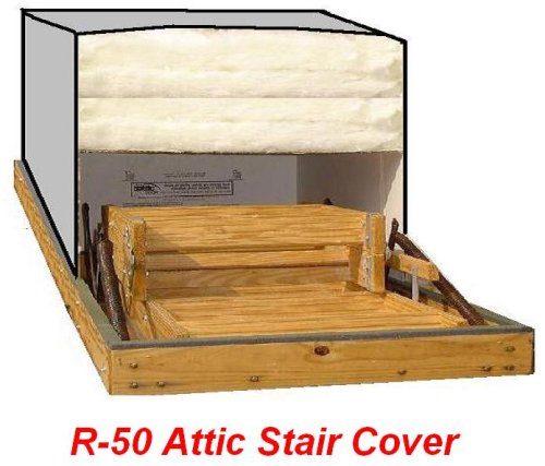 25x54 Attic Pull Down Stair Ladder Cover, R-50 Insulation by Battic Door Energy Conservation ()