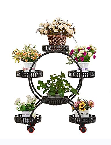 (Wrought Iron Plant Frame Wrought Iron Flower Pot Rack Flower Stand Layered Plant Display Stand Indoor and Outdoor (Black/White) (Color : Black))