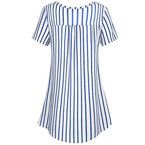 Col Casual Rond HX Blau Branch fashion Plier Haut Button Femme Elgante Blouse Manches Blouse Basic Et Shirts Vetement Chemise Verticales Mode Confortable Courtes Rayures wZqwSRCx6