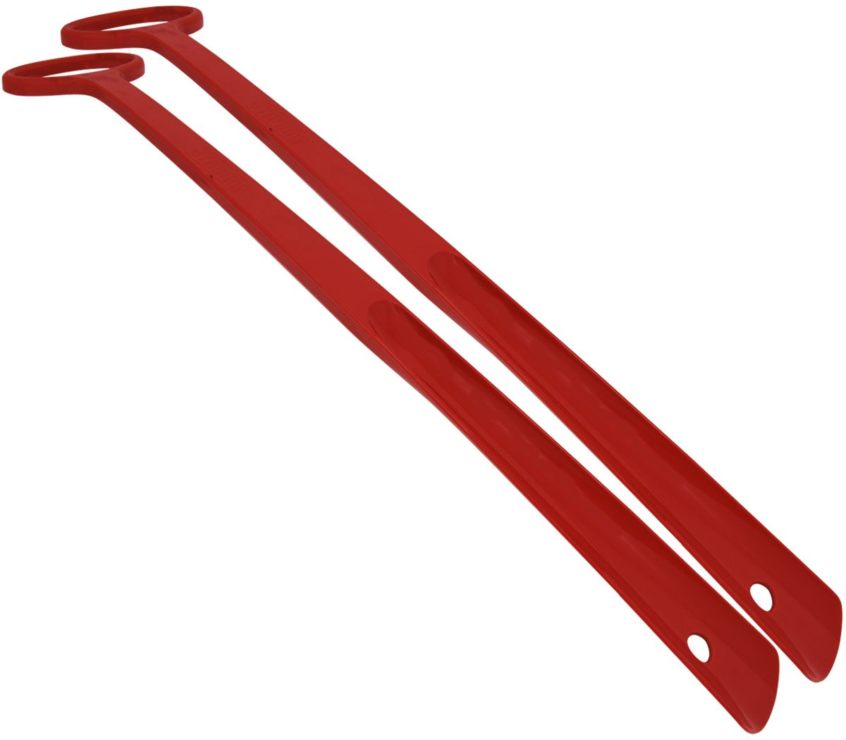FootMatters 24 Inch Extra Long Handle Durable Easy-grip Shoe Horn - Multiple Color Options - No More Bending Over to Put Shoes on Great for Elderly, Disabled, and Folks with Back Pain - Red - 2 Pack