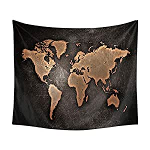 Decroative World Map Tapestry Abstract Splatter Tapestry Wall Hanging