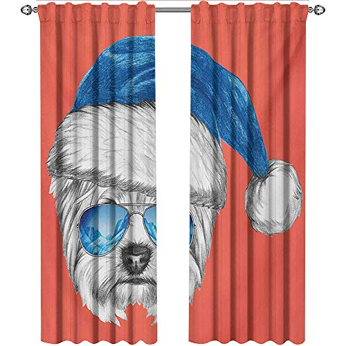 shenglv Yorkie, Curtains Bedroom, Terrier with a Blue Santa Hat and Mirror Aviator Glasses Fun Hand Drawn Animal, Curtains Living Room, W108 x L108 Inch, Coral White Blue