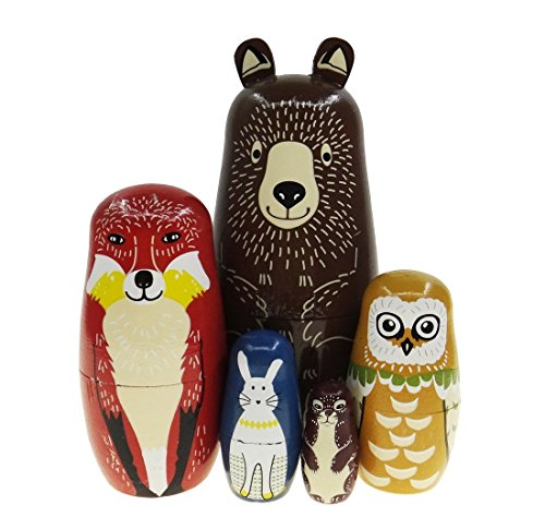 AhkeaDirectly Brown Cartoon Bear Fox Owl Rabbit Raccoon Nesting Doll Wooden Matryoshka Russian Doll Handmade Stacking Toy Set 5 Pieces for Kids Girl Home Decoration