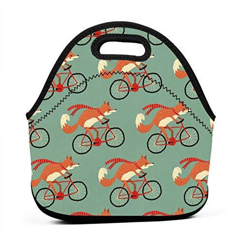 (DJUQBWKP Foxes On Bicycle Portable Lunch Bags,Reusable Picnic Bag -for Adults, Women, Girls, School Children - Suitable for Travel, Picnic, Office (Small))