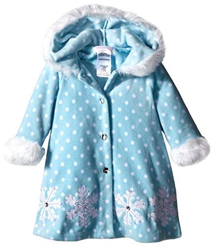 Bonnie Baby Baby-Girls Infant Snowflake Appliqued and Fur Trim Fleece Coat, Aqua, 12 Months