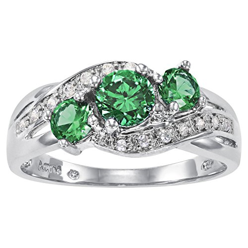 (ArtCarved Love You Too Simulated Emerald May Birthstone Ring, Sterling Silver, Size 4)