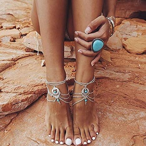 Black Macrame Barefoot Sandals Moonstone Anklets Gemstone Beach Jewelry Black Onyx Footless sandals Indian Boho Body Accesorry