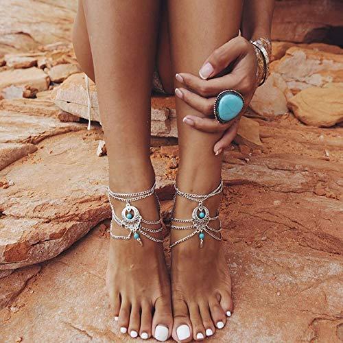 Artmiss Boho Barefoot Sandals Silver
