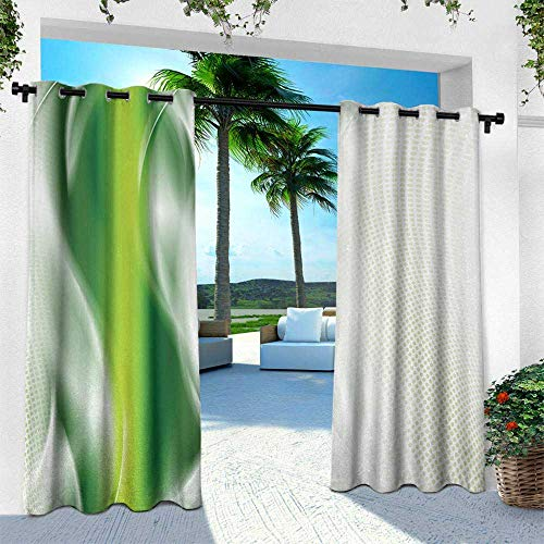 Hengshu Abstract, Patio Curtains,Cool Floral Like Green Strip with Wavy Detailed Design Image Print, W108 x L108 Inch, White Green and Dark Green ()