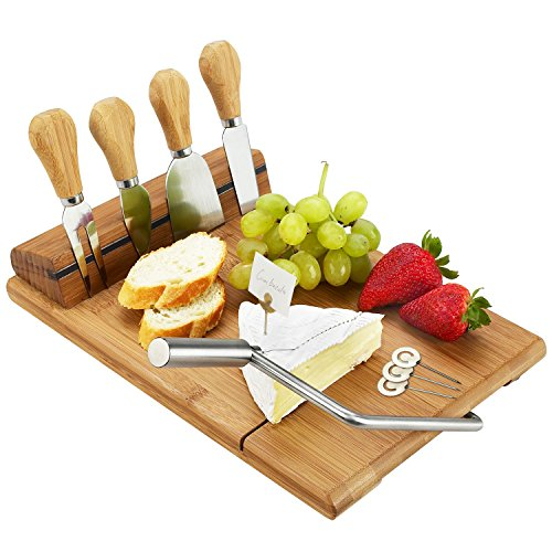 - Picnic at Ascot Bamboo Board with Wire Cheese Slicer & 4 Stainless Steel Tools & Cheese Markers - 12