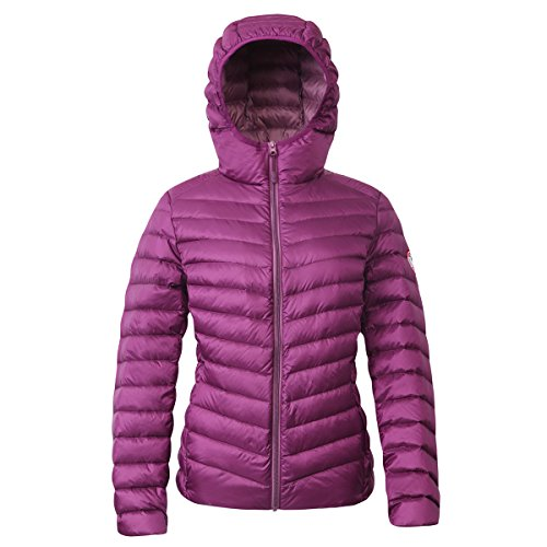 Rokka&Rolla Women's Ultra Lightweight Hooded Packable Puffer Down Jacket (S, Grape Juice)