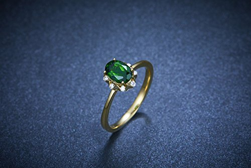 Emerald Ring,6x8mm Oval Cut Emerald Engagement ring,Princess Diana Halo,Plain gold band,sterling silver,Yellow gold plated,CZ Bridal