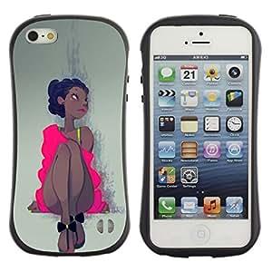 Be-Star Impreso Colorido Diseño Antichoque Caso Del Iface Primera Clase Tpu Carcasa Funda Case Cubierta Par Apple iPhone 5 / iPhone 5S ( pink dress Latina woman girl dancer )