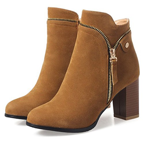 Boots Zipper Round Brown Medium Suede Women's Ankle Faux Fashion Aisun with Heel Toe Block IfvZv7