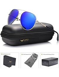 LUENX anteojos de sol de aviador polarizados de espejo con estuche, para mujer – protección UV 400