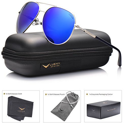 LUENX Womens Aviator sunglasses Polarized & with Case - UV 400 Protection Dark Blue Lens Silver Frame (Blue Lens)