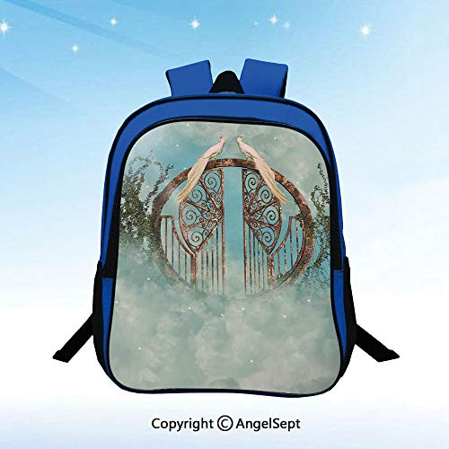 Preschool Backpack Fantasy Scene in Heaven With Gate Greenery Birds Stars Decorative Artwork Fog Little Kid Backpacks for Boys and Girls with Chest Strap,Turquoise
